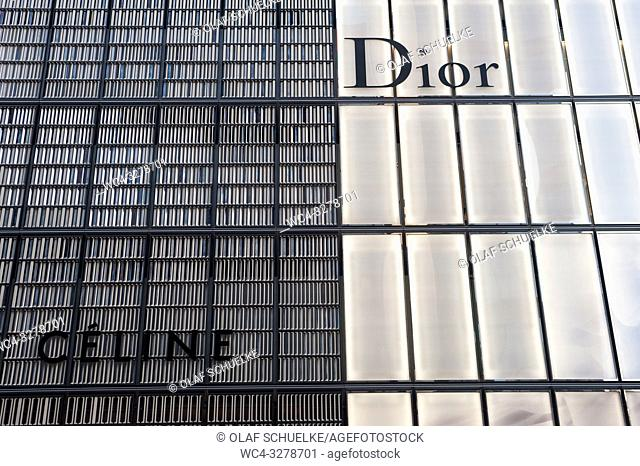 Tokyo, Japan, Asia - Dior and Celine company logos are seen on building facades in the Ginza district of Japan's capital city