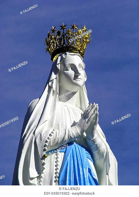 The beloved nd crowned statue of Our Lady of Lourdes at the Marian shrine of Lourdes, France