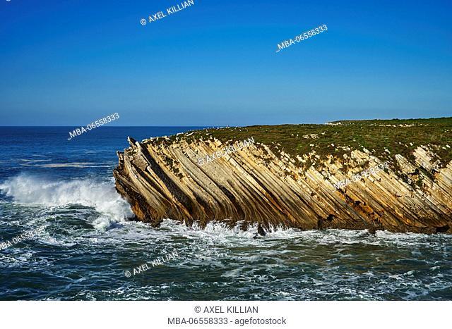 Island, rocky coast, sea, surf, waves