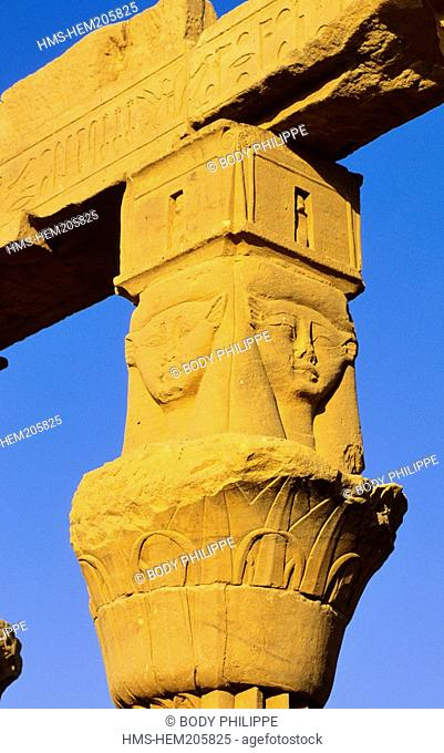 Egypt, Upper Egypt, Aswan, Agilka Island, Philae Temple, chapiter with the head of Hathor Goddess