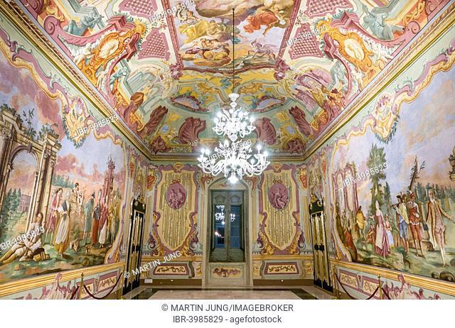 Rococo frescoes by Domenico Carella, Sala dell'Arcadia, Palazzo Ducale, Martina Franca, Valle d'Itria, Apulia, Italy