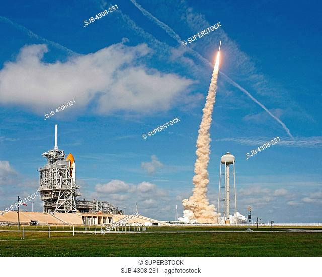 Ares I-X Test with Nearby Space Shuttle