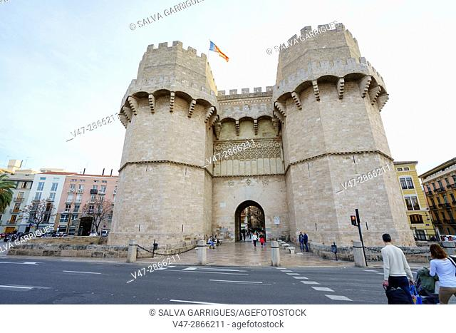 Towers of serranos (Torres dels Serrans), old gate of the city of Valencia, Spain