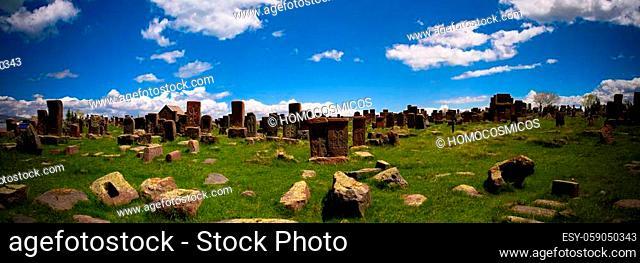 Stone slabs aha khachkar, Noratus cemetery, Armenia