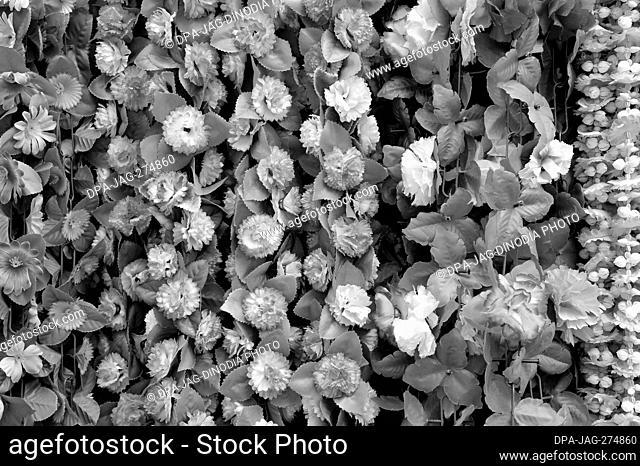 Artificial white flowers, Dadar, Mumbai, Maharashtra, India, Asia
