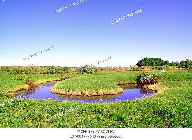 small river on green field
