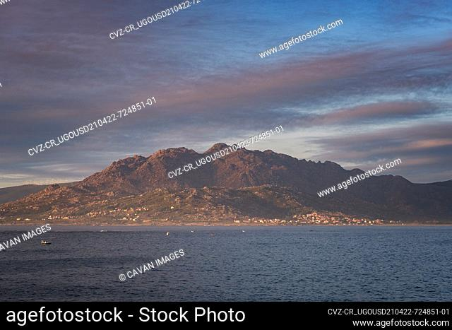 Caldebarcos panorama view of landscape with mountains at sunset