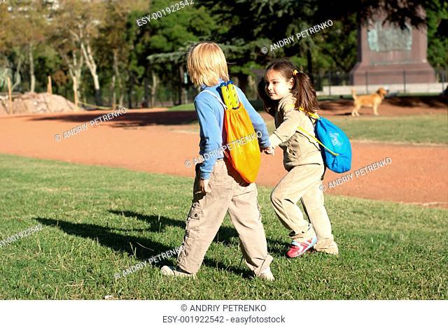 Children going to park