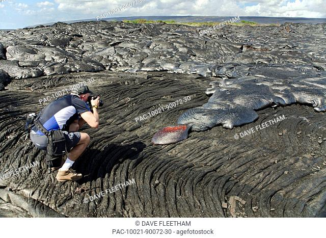 Hawaii, Big Island, Kalapana, Man photographs Pahoehoe lava flowing from Kilauea covering an older Pahoehoe flow