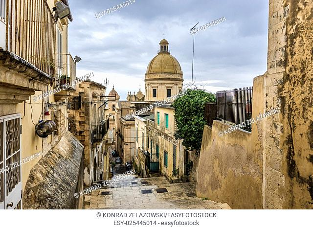 Dome of of Saint Nicholas of Myra Cathedral in Noto city, Sicily in Italy