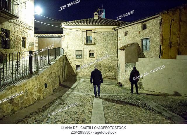 Molina de Aragon village by night in Guadalajara Castile Spain, on Dec 10, 2016 Santa Clara convent