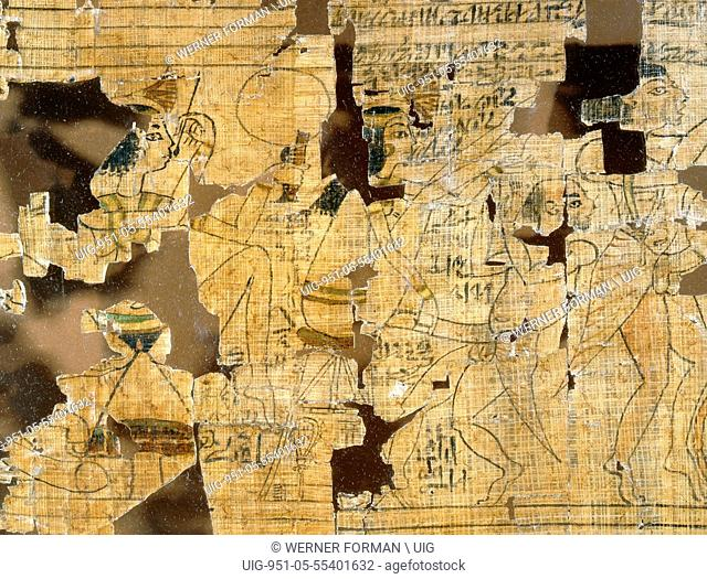 A detail from the Turin Papyrus which depicts scenes of prostitutes, their clients and various love making positions