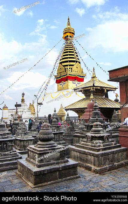Nepal, Kathmandu, Swayambhunath, Buddhism, Stupa, Buddha Eye, Small Stupas, People, Tourist, Steeple, UNESCO