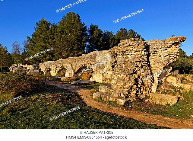 France, Bouches du Rhone, Fontvieille, road of Caparon, Aqueduct of Barbegal, Gallo Roman vestige of the 4th century