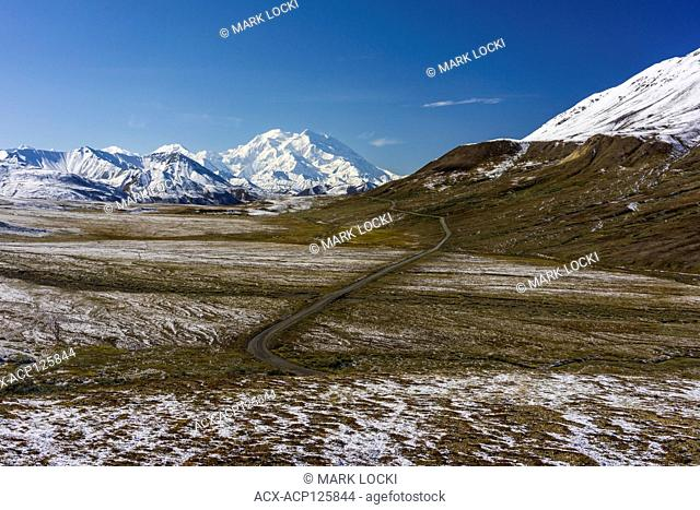 A road leading towards Denali, Denali National Park, Alaska, USA