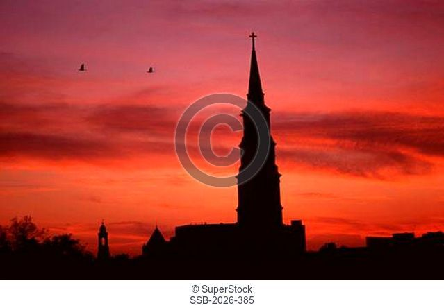 Silhouette of a church at sunset, St. Philip's Church, Charleston, South Carolina, USA