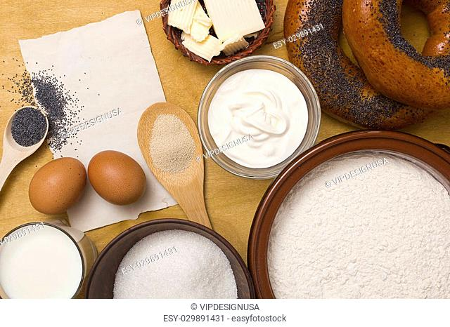 Ingredients for buns bagels with poppy seeds