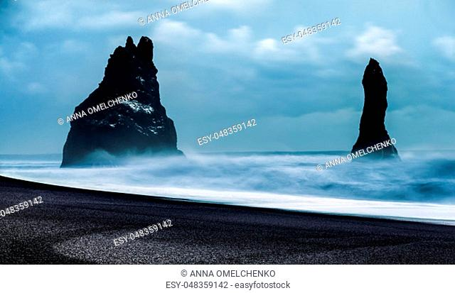 Iceland, amazing view on black sand beach of Vik Myrdal, exotic winter travel to Scandinavia