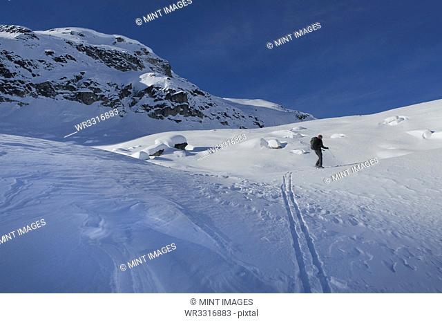Caucasian skier in snowy landscape
