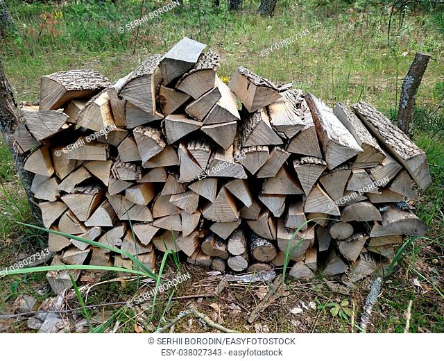 Preparation of firewood for the winter. Background. Firewood in the forest. Firewood on camping area fireplace. Stacks of firewood