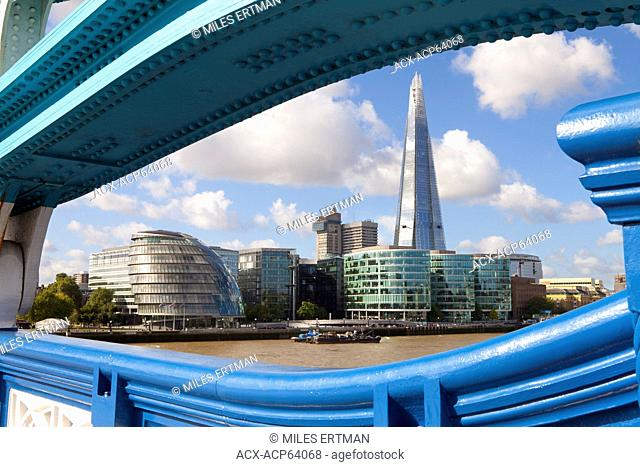 The Shard building and London City Hall as seen from Tower Bridge, London, England