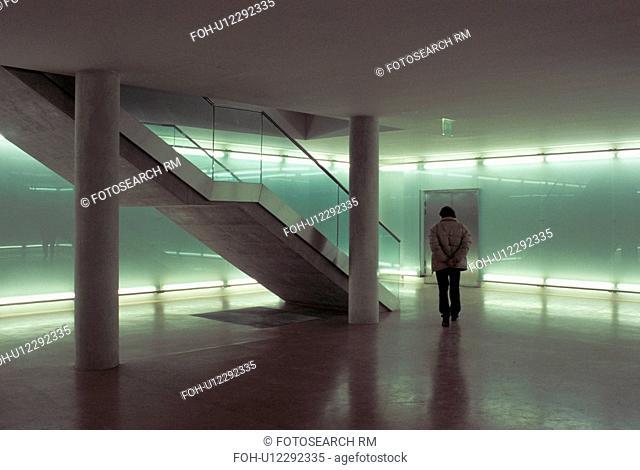 man stairs green light ponder think wonder wien