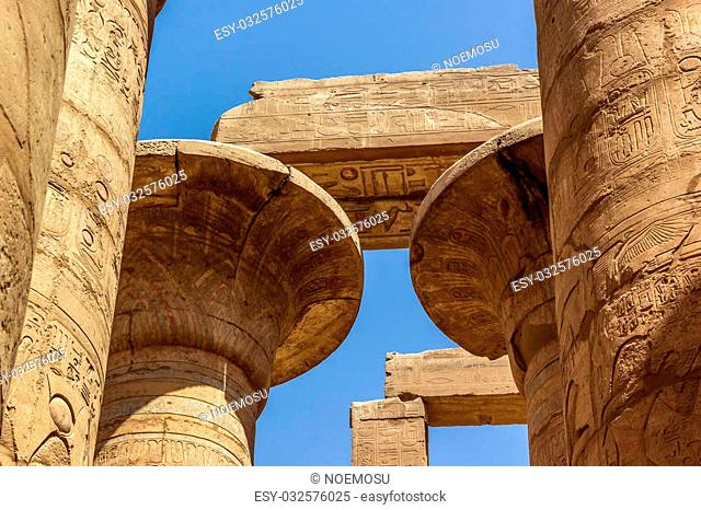 a horizontal view of a detail of a capitel of the Great Hypostyle Hall of the Temple of Karnak, Luxor (Egypt)