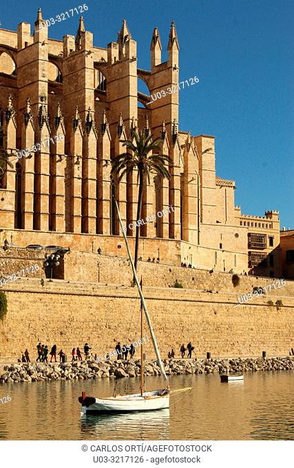 Partial view of the Cathedral of Palma de Majorca, the Balearic capital city, Spain, Europe