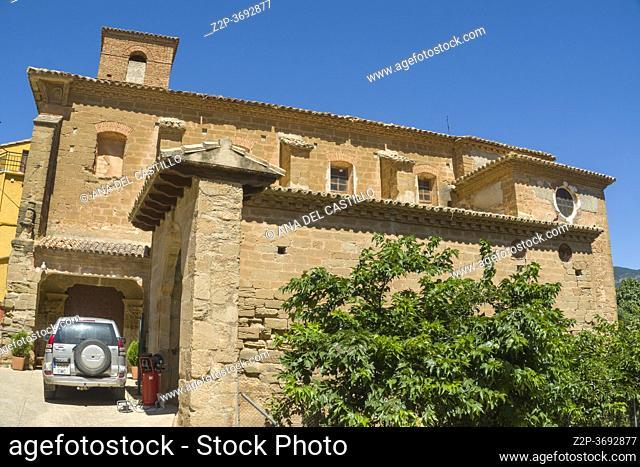 BOLEA HUESCA ARAGON SPAIN ON AUGUST 19, 2020: medieval architecture, the parish church