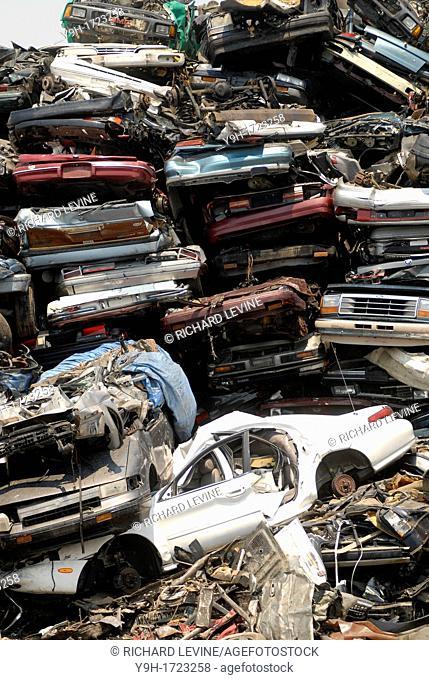 Scrap metal recycler on Newtown Creek separating Brooklyn and Queens counties in New York
