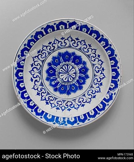 Dish with 'Kaleidoscope' Design. Object Name: Plate; Date: ca. 1580-85; Geography: Made in Turkey, Iznik; Medium: Stonepaste; polychrome painted under...
