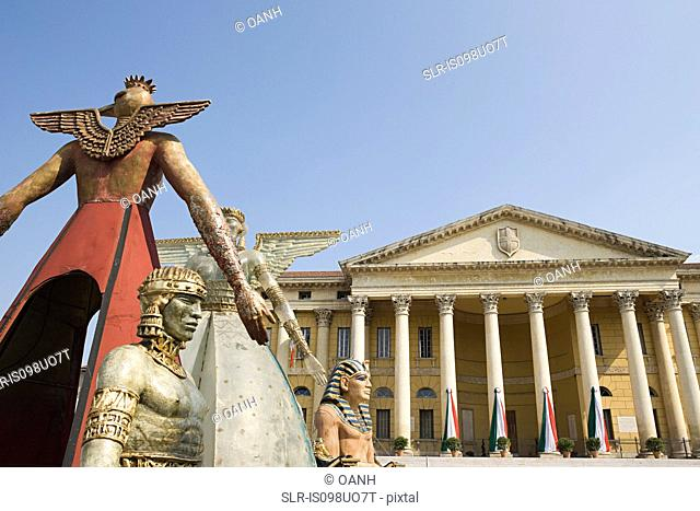 Statues for opera festival at Verona Arena, Italy