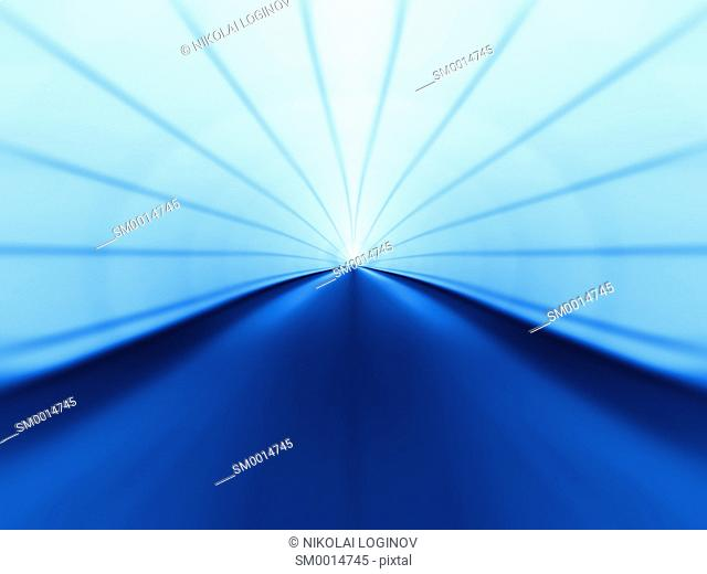Horizontal blue virtual tunnel illustration background