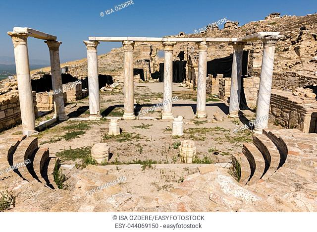 Panoramic high resolution view of Tomb of St. Philip and Aghiasma (Sanctuary Fountain) in ancient Greek city Hierapolis, Pamukkale, Turkey