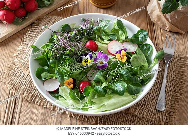 Spring salad with fresh broccoli and kale microgreens and colorful edible pansy flowers