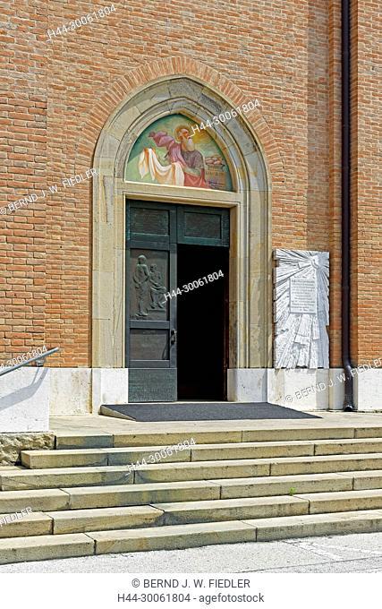 Europe, Italy, Veneto Veneto, Montegrotto Terme, Viale Stazione, church, Duomo Tu San Pietro Apostolo, entrance, architecture, building, historically, church