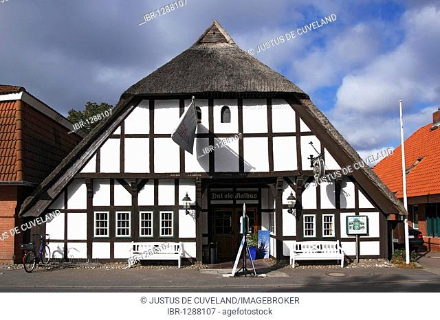 Old half-timbered thatched fish restaurant Dat ole Aalhus in Landkirchen, Fehmarn island, Baltic Sea island, Ostholstein district, Schleswig-Holstein, Germany