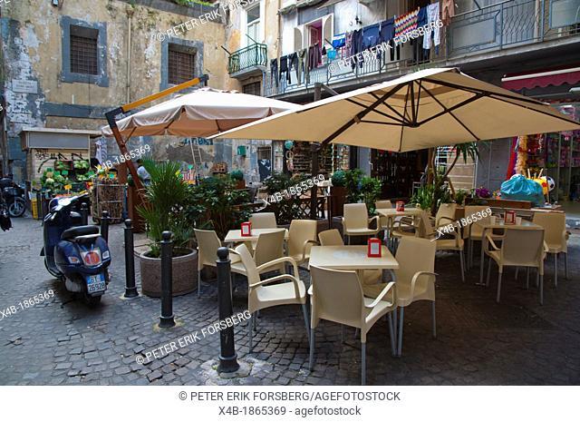 Piazzetta Divino Amore square along Spaccanapoli street centro storico old town Naples city La Campania region southern Italy Europe
