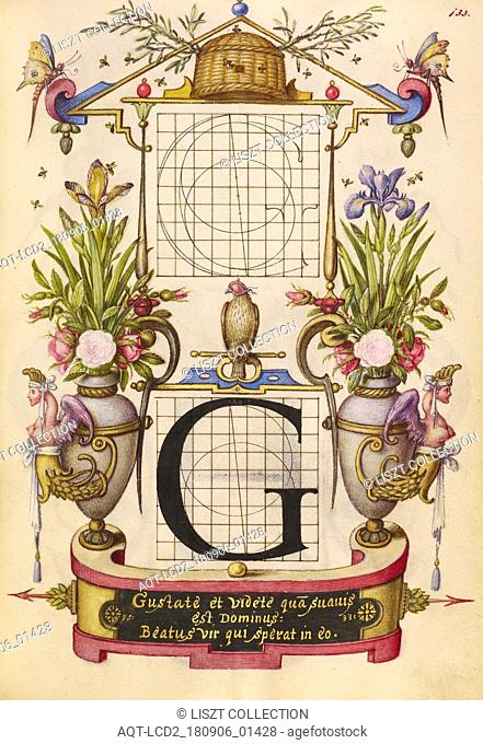 Guide for Constructing the Letter G; Joris Hoefnagel (Flemish , Hungarian, 1542 - 1600); Vienna, Austria; about 1591 - 1596; Watercolors, gold and silver paint