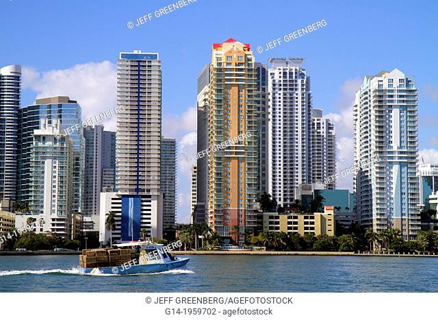 Florida, Miami, Biscayne Bay, city skyline, Brickell Avenue, water, skyscrapers, high rise, condominium, residential, buildings, boat, commercial, crab