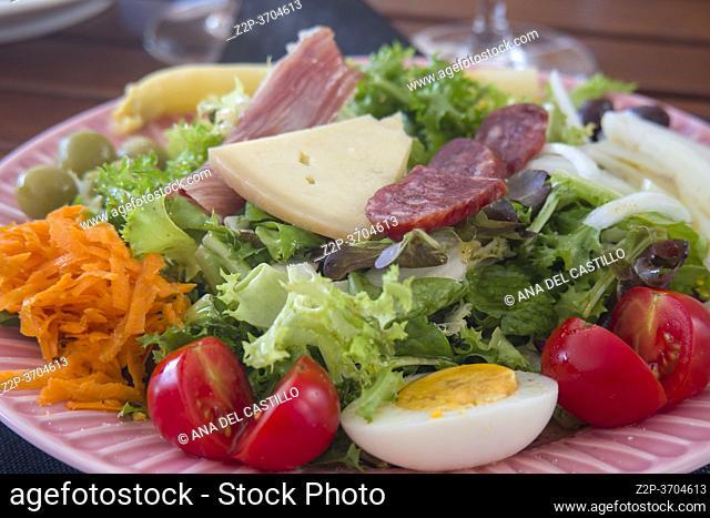 Salad on pink plate Spanish style