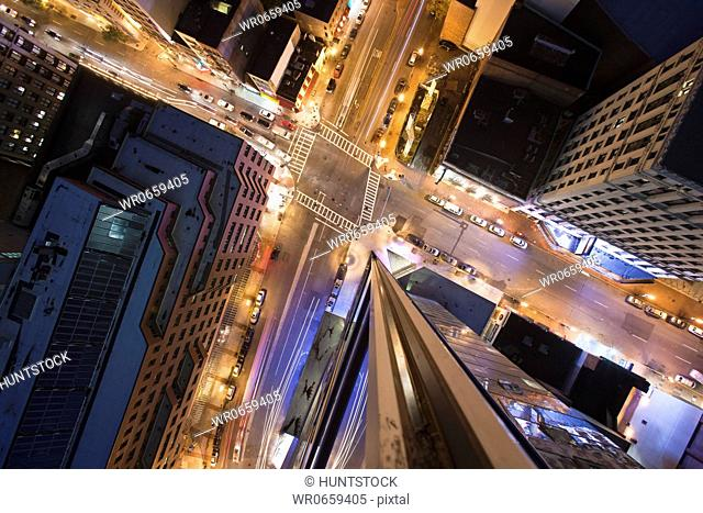 High angle view of the crossroad in a city, Boston, Suffolk County, Massachusetts, USA