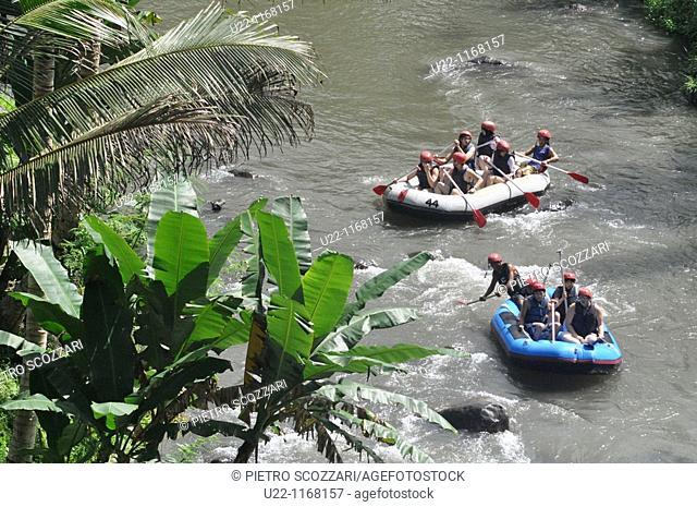 near Ubud (Bali, Indonesia): Taiwanese tourists rafting along the Ayung river, by the Sayan paddies