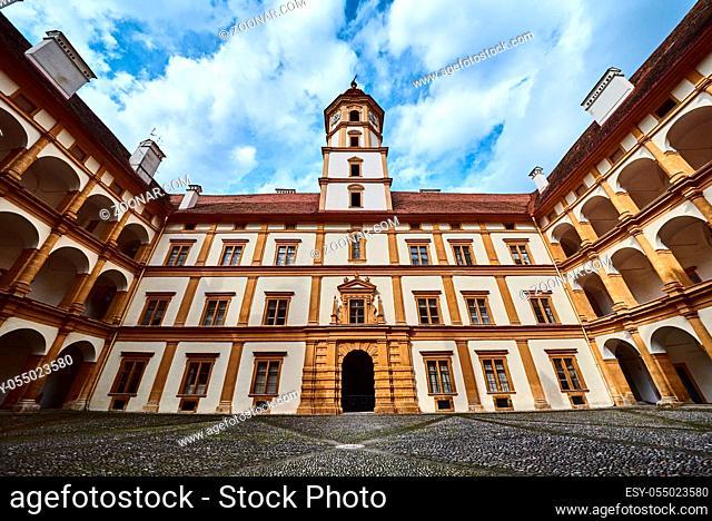 Graz, Austria 02.10.2019: View at Eggenberg palace courtyard tourist spot, famous travel destination in Styria
