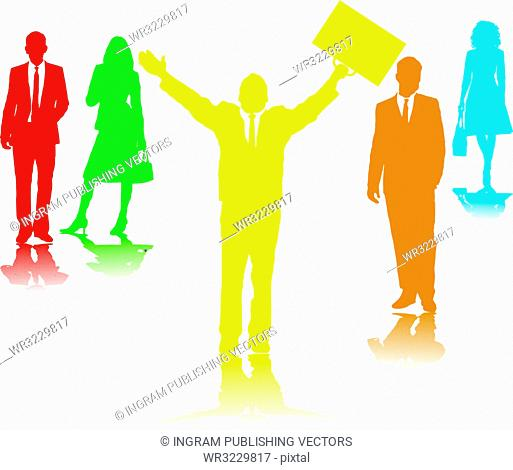 Five business people in different colors in silhouette