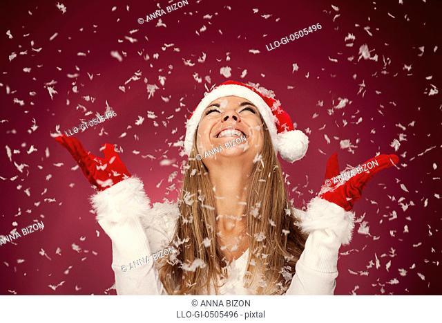 Happy woman, the snow, Debica, Poland