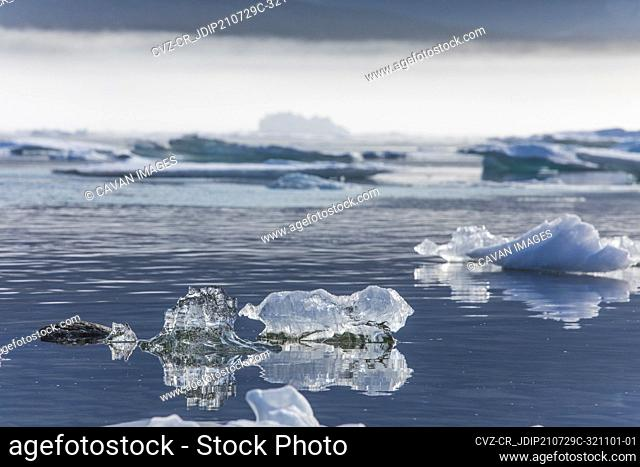 Detailed view of tiny melting icebergs in the Arctic Ocean