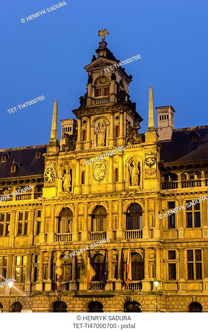 View of Antwerp City Hall at sunrise
