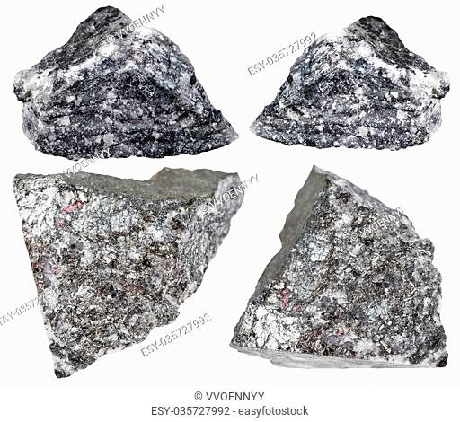 set of various natural mineral stones - stibnite (antimonite, antimony ore) rocks isolated on white background