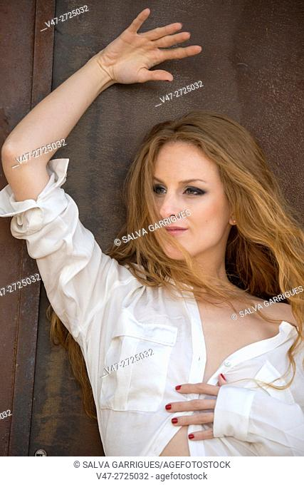 Portrait of a woman with white shirt, Alboy, Genoves, Valencia, Spain, Europe